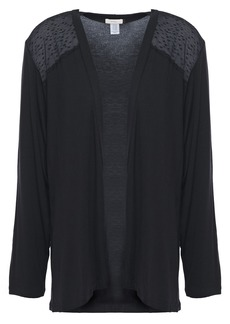 Eberjey Woman Greta Point D'esprit-paneled Stretch Modal-jersey Cardigan Black