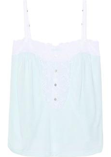 Eberjey Woman Lace-trimmed Modal-jersey Pajama Top Sky Blue