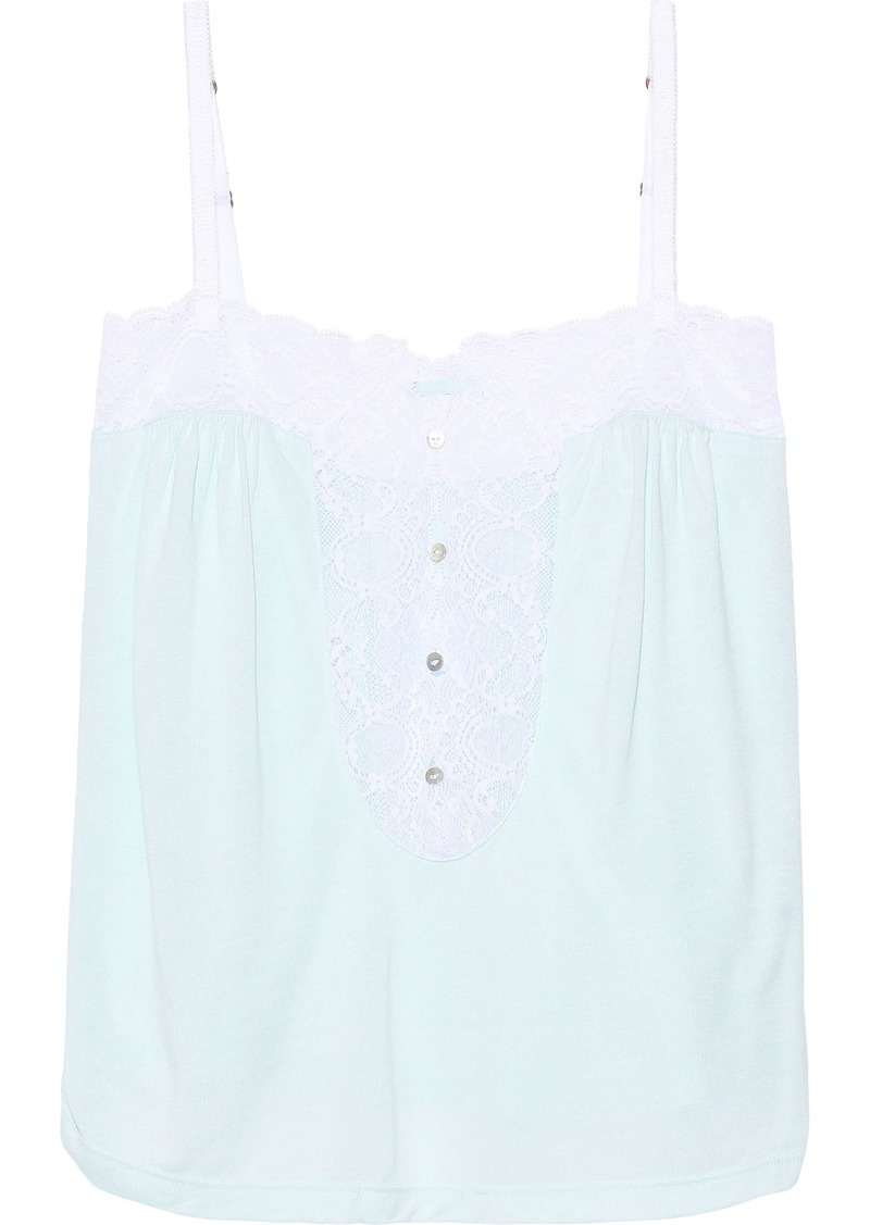 Eberjey Woman Lace-trimmed Modal-jersey Pajama Top Sky Blue