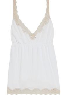 Eberjey Woman Lady Godiva Lace-trimmed Stretch-modal Jersey Camisole White