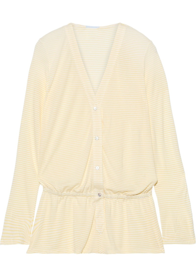 Eberjey Woman Love Letters Striped Modal-blend Jersey Playsuit Yellow
