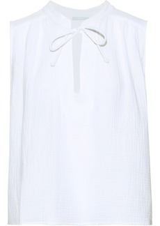 Eberjey Woman Lucia Cotton-seersucker Pajama Top White
