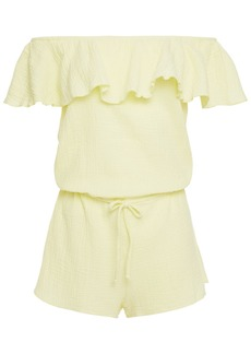 Eberjey Woman Lucia Off-the-shoulder Ruffled Cotton-seersucker Playsuit Pastel Yellow