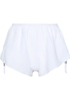 Eberjey Woman Lucia Tie-detailed Cotton-gauze Pajama Shorts White