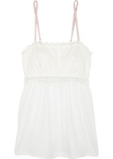 Eberjey Woman Magnolia Lace-paneled Stretch-jersey Camisole Ivory