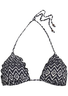 Eberjey Woman Ruffle-trimmed Printed Triangle Bikini Top Black
