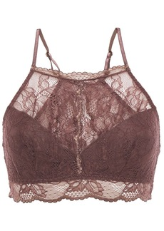 Eberjey Woman Scalloped Stretch-lace Bralette Dark Purple