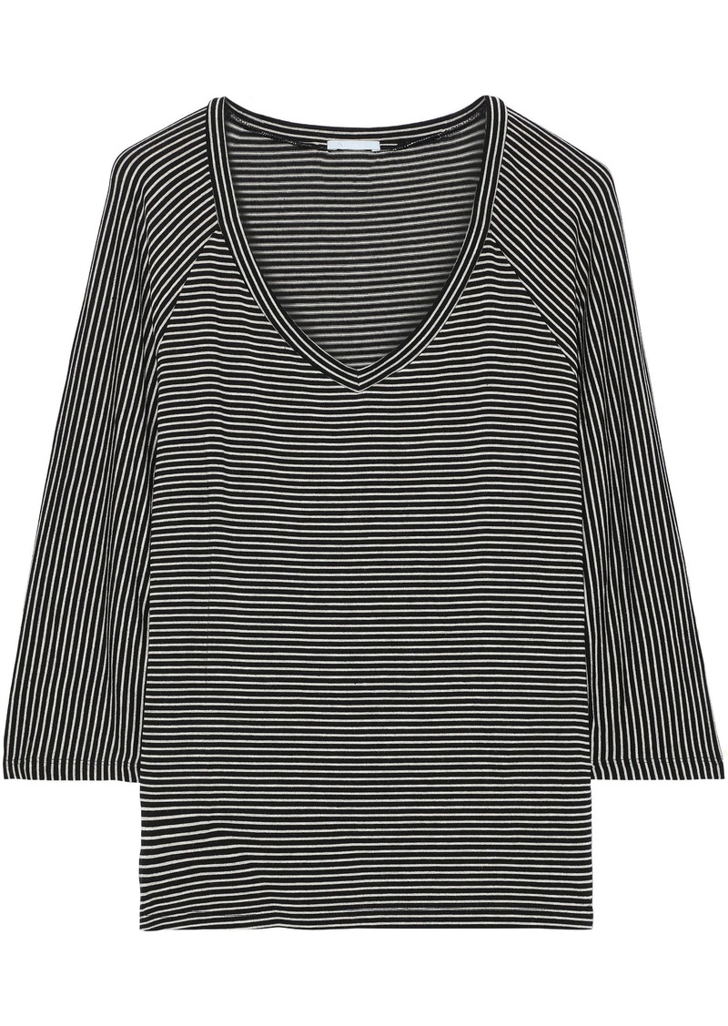 Eberjey Woman Toni Striped Stretch-jersey Pajama Top Black