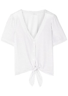 Eberjey Woman Tropea Knotted Printed Stretch-modal Jersey Pajama Top White