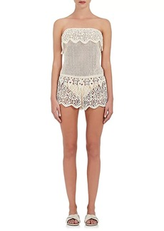 Eberjey Women's Nina Mixed-Crochet Cotton Strapless Romper