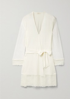 Eberjey Iona Love Me Lace-trimmed Point Desprit Tulle And Stretch-modal Robe