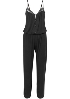 Eberjey Lucie Lace-trimmed Stretch-modal Jersey Jumpsuit