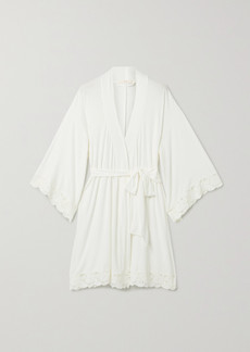 Eberjey Naya Mademoiselle Lace-trimmed Stretch-modal Robe