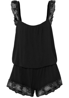 Eberjey Noor The Primped Lace-trimmed Stretch-modal Jersey Playsuit