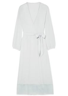 Eberjey Phoebe Lace-trimmed Stretch-modal Jersey Robe