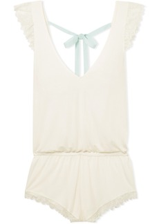 Eberjey Rosario Lace-trimmed Stretch-modal Jersey Playsuit