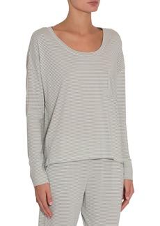 Eberjey Striped Long-Sleeve Boxy Pima Cotton Lounge Tee