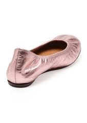 Lanvin Metallic Leather Ballerina Flat, Pink