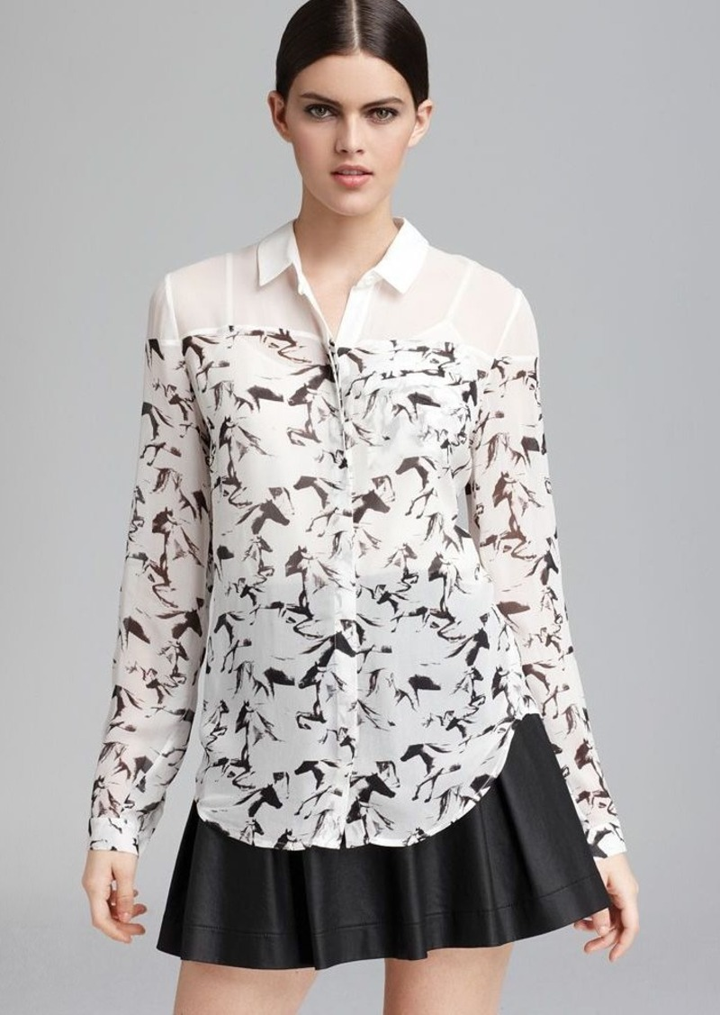 FRENCH CONNECTION Blouse - Hatched Horses