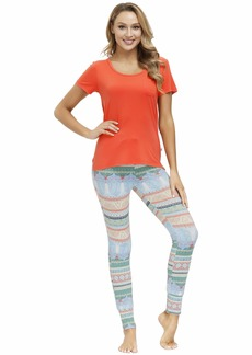 Echo Pajamas for Women-Soft Knit Scoop Neck T-Shirt Cute Printed Legging PJ Set Casual Loungewear Breathable Sleepwear  L