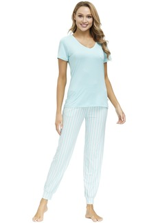 ECHO Women's Lounge Set-Knit Short Sleeve V-Neck Tee and Long Pant w/Pockets Casual Sleepwear Soft Breathable Sweatsuit
