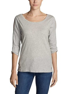 Eddie Bauer Travex Women's 3/4 Sleeve Gate Check Twist Top