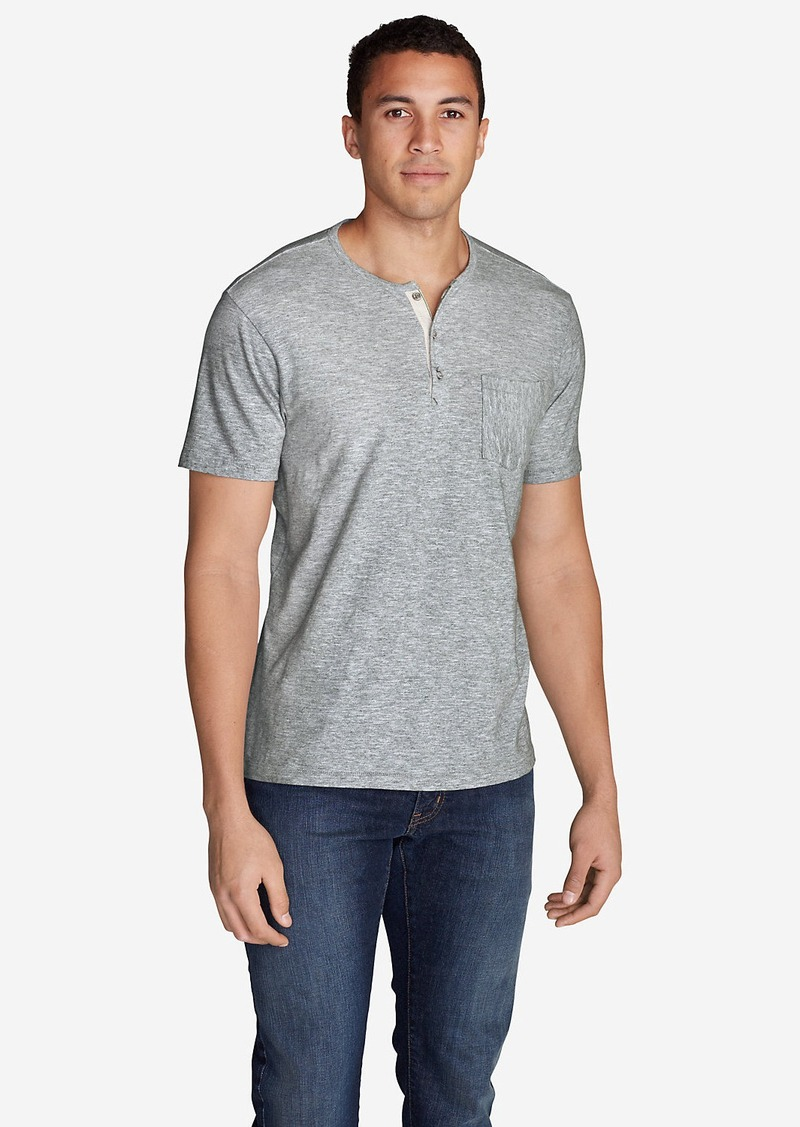 Eddie Bauer Men's Ferox Short-Sleeve Henley Shirt - Micro Stripe