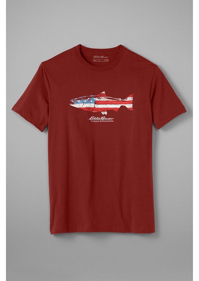 Eddie Bauer Men's Graphic T-Shirt - Salmon Flag