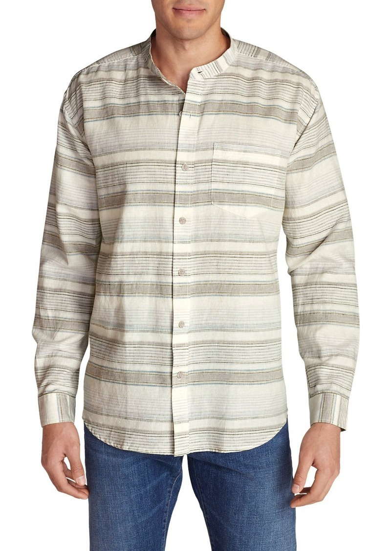 Eddie Bauer Men's Linen/Cotton Banded Collar Shirt