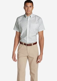 Eddie Bauer Men's Wrinkle-Free Relaxed Fit Short-Sleeve Oxford Cloth Shirt - Pattern