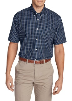 Eddie Bauer Men's Wrinkle-Free Relaxed Fit Short-Sleeve Pinpoint Oxford Shirt - Blues