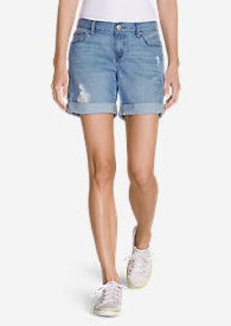 Eddie Bauer Women's Boyfriend Embroidered Denim Shorts - Destroyed