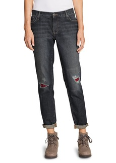 Women's Boyfriend Flannel-Patch Jeans