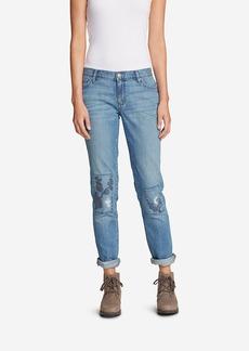 Women's Boyfriend Slim Embroidered Jeans