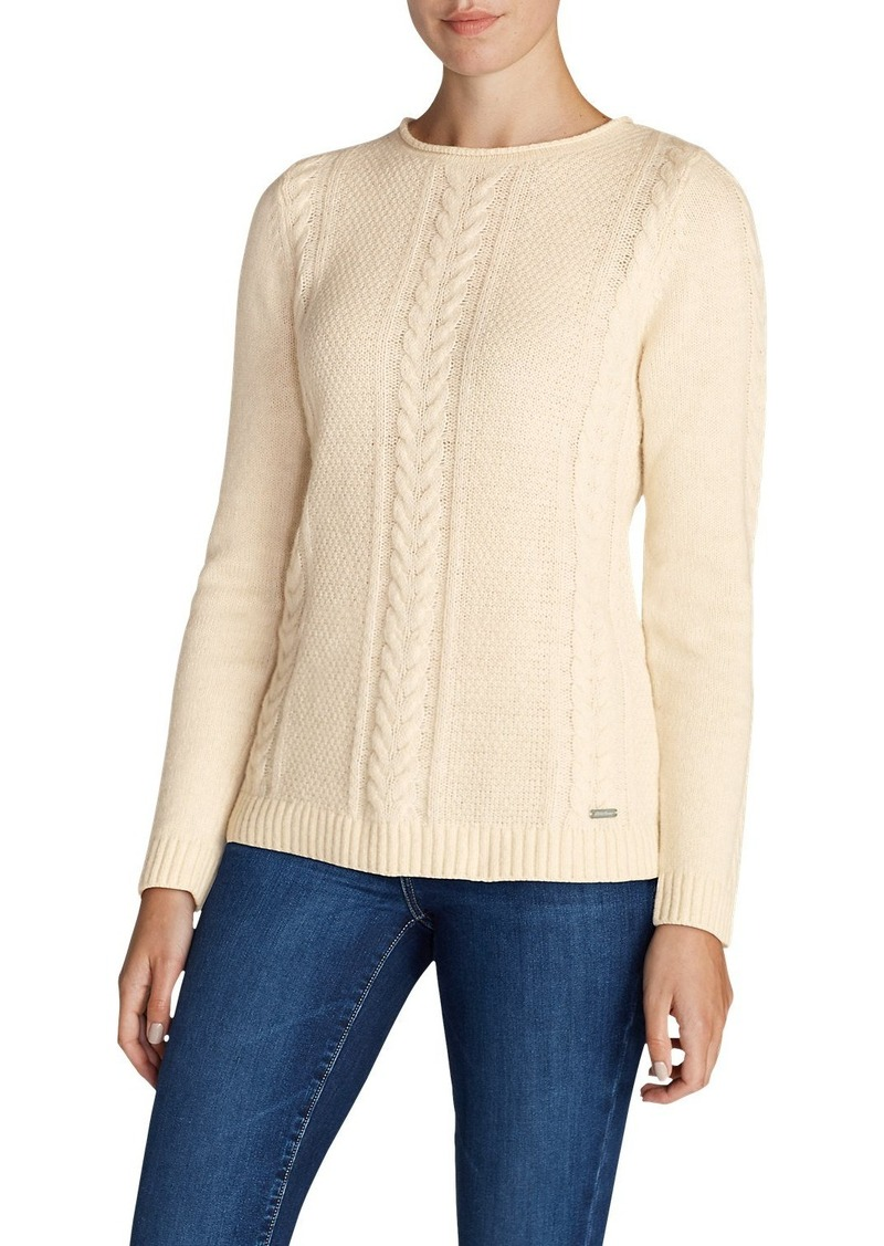 Eddie Bauer Womens Cable Fable Crew Sweater Casual Shirts