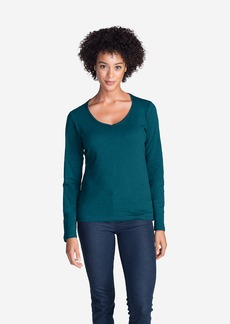 Eddie Bauer Women's Essential Slub Long-Sleeve V-Neck T-Shirt