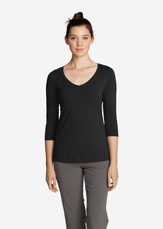 Eddie Bauer Women's Lookout 3/4-Sleeve V-Neck T-Shirt - Solid