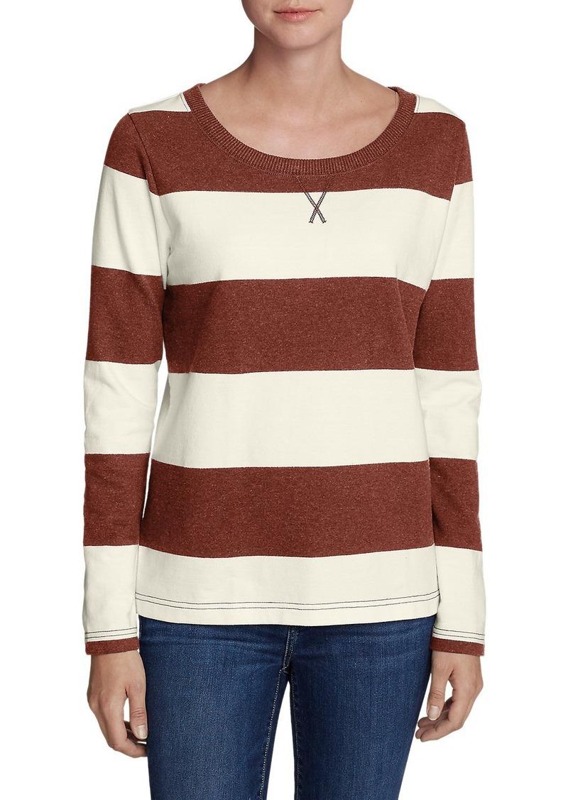 d55fa49e274 Eddie Bauer Women's Rugby Stripe Sweatshirt   Casual Shirts