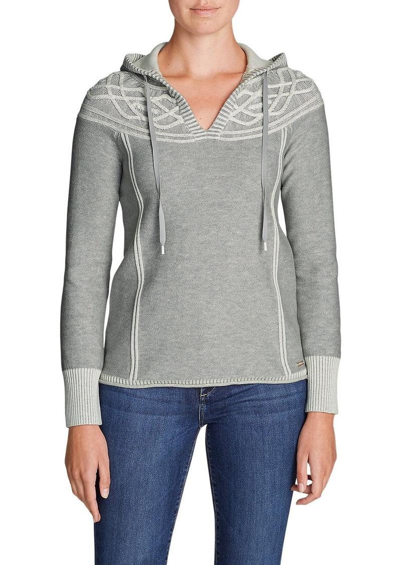 Eddie Bauer Womens Shasta Cable Hoodie Sweater Now 4000