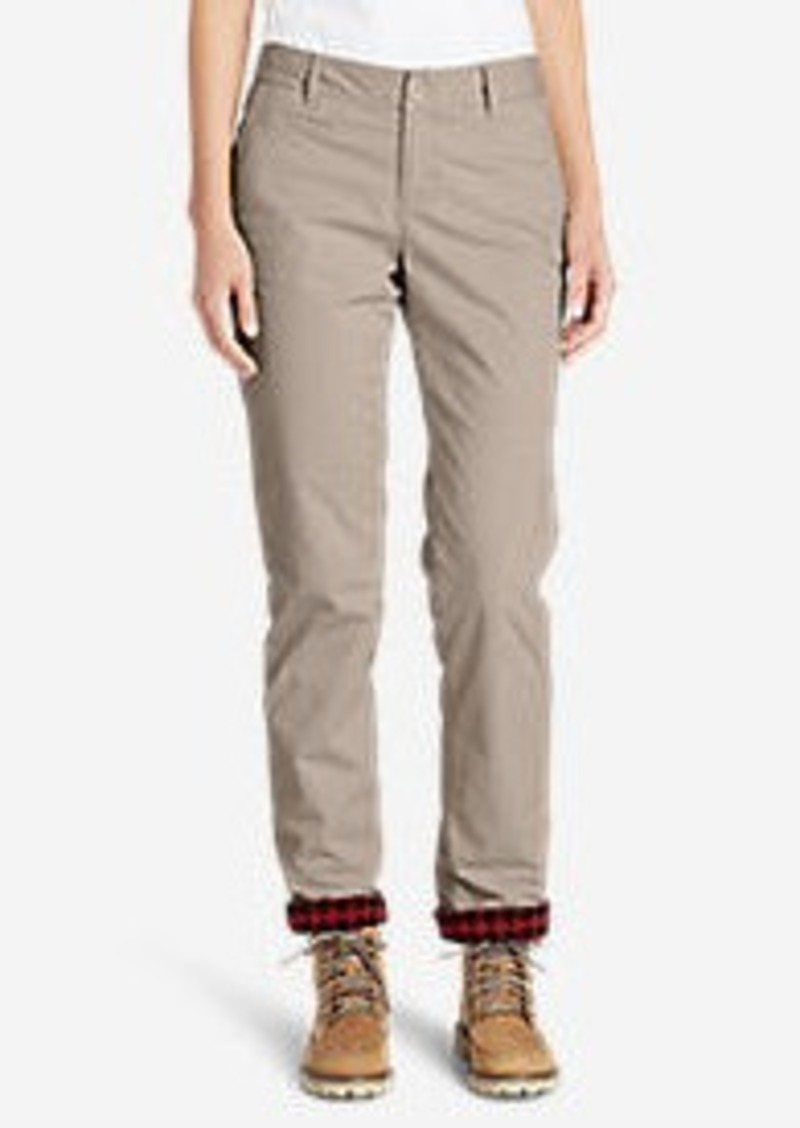 Eddie Bauer Women's Stretch Legend Wash Flannel-Lined Pants - Boyfriend