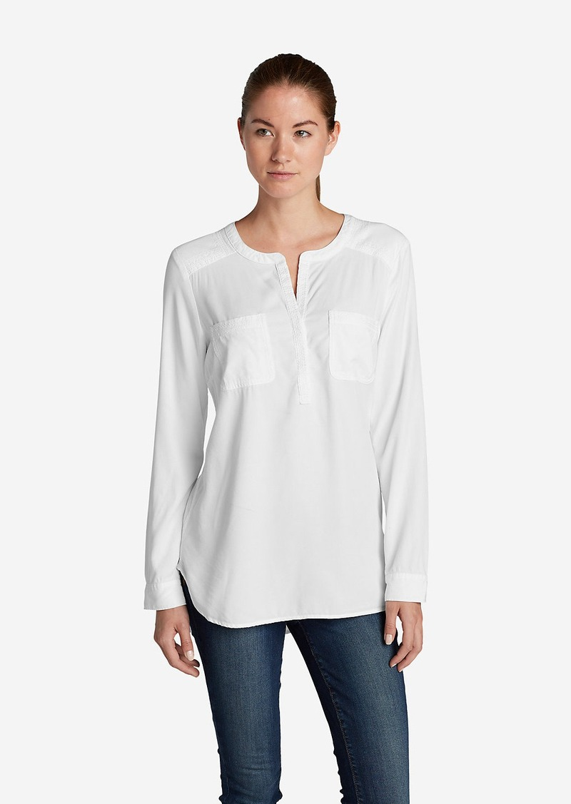 Eddie Bauer Women's Tranquil Popover Top with Embroidery