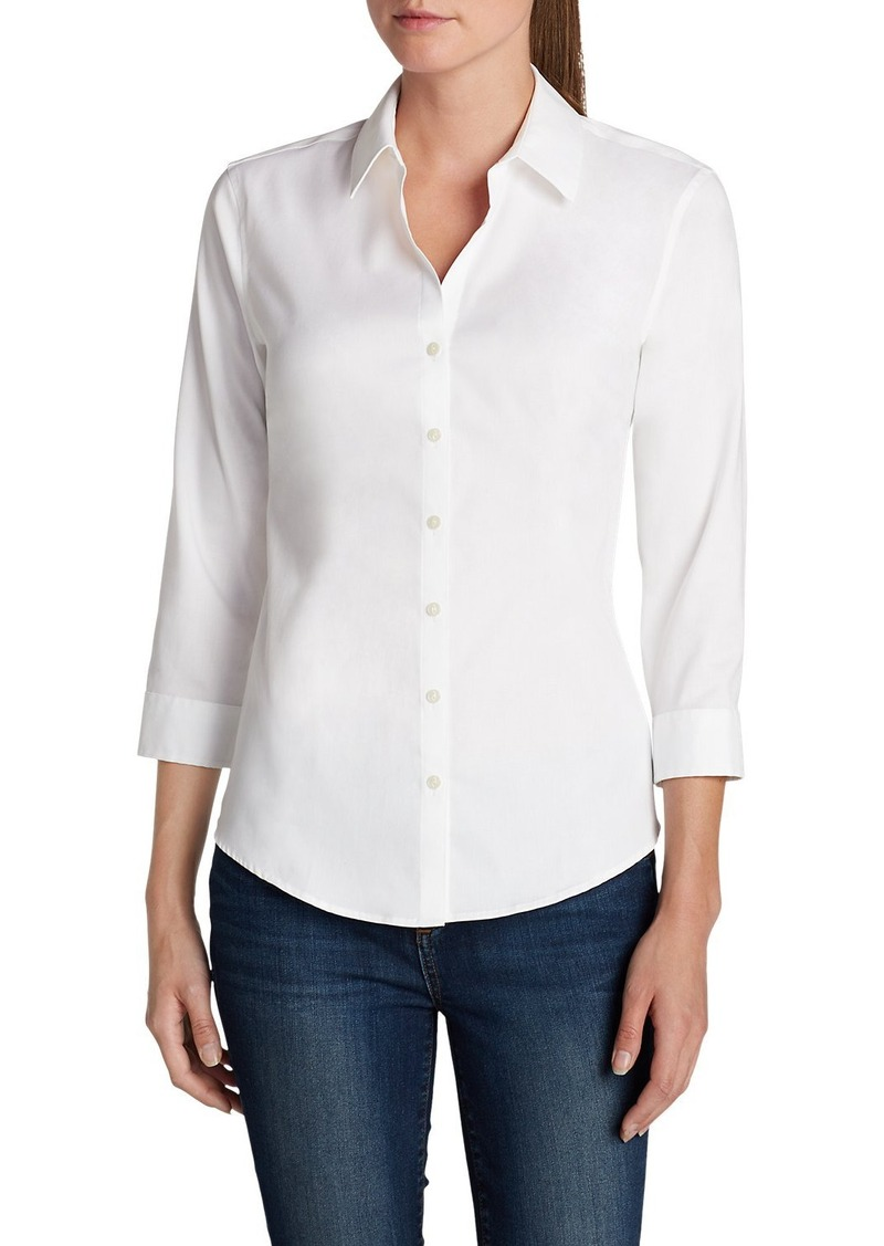Eddie bauer women 39 s wrinkle free 3 4 sleeve shirt solid Wrinkle free shirts for women