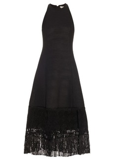 Edun Embroidered-hem wool-blend dress