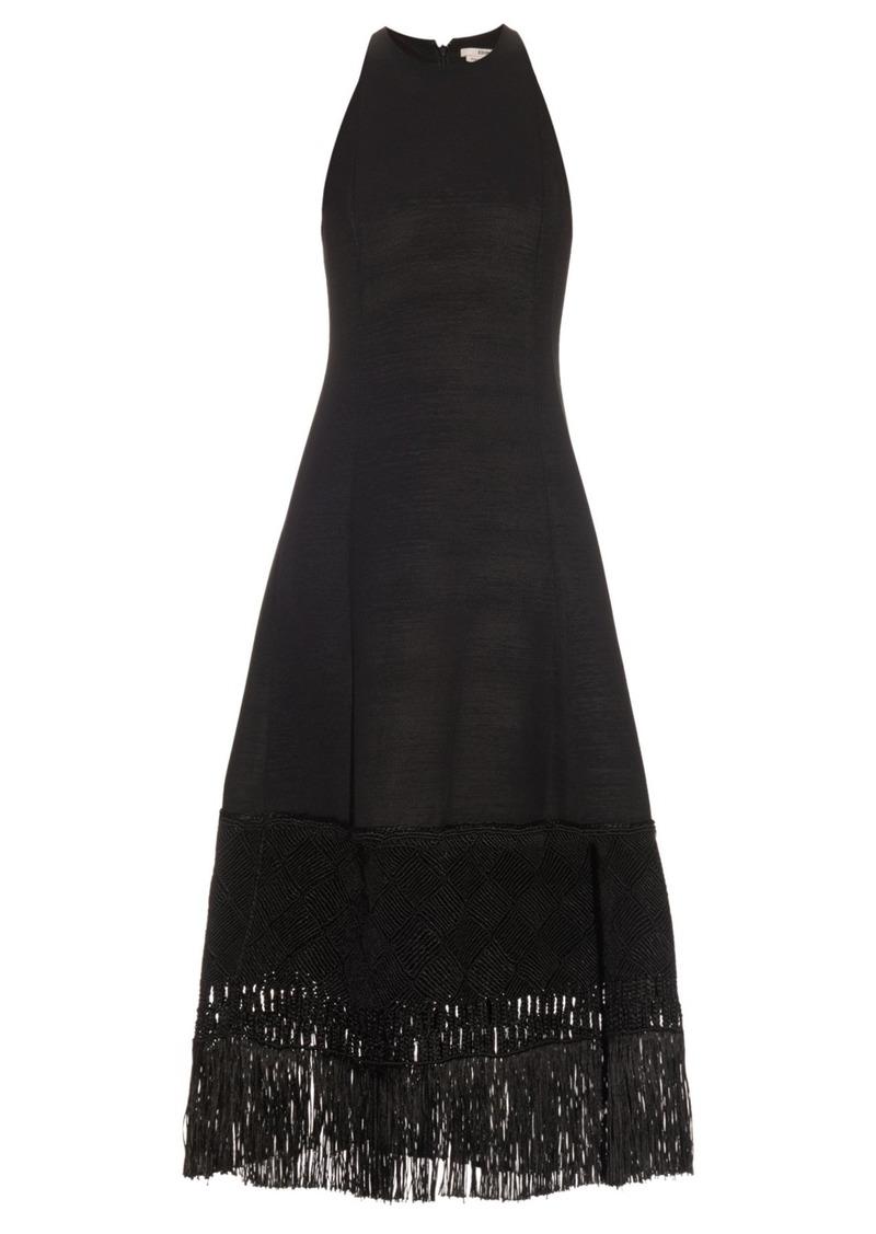Edun Embroidered-hem wool-blend dress