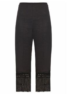 Edun Fringed wool-twill trousers