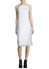 Edun Layered Raised-Seam Satin Shift Dress