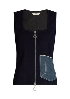 Edun Patch-pocket sleeveless denim top