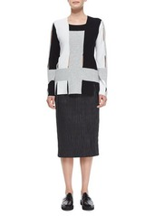 Edun Plisse Pleated Leather Pencil Skirt