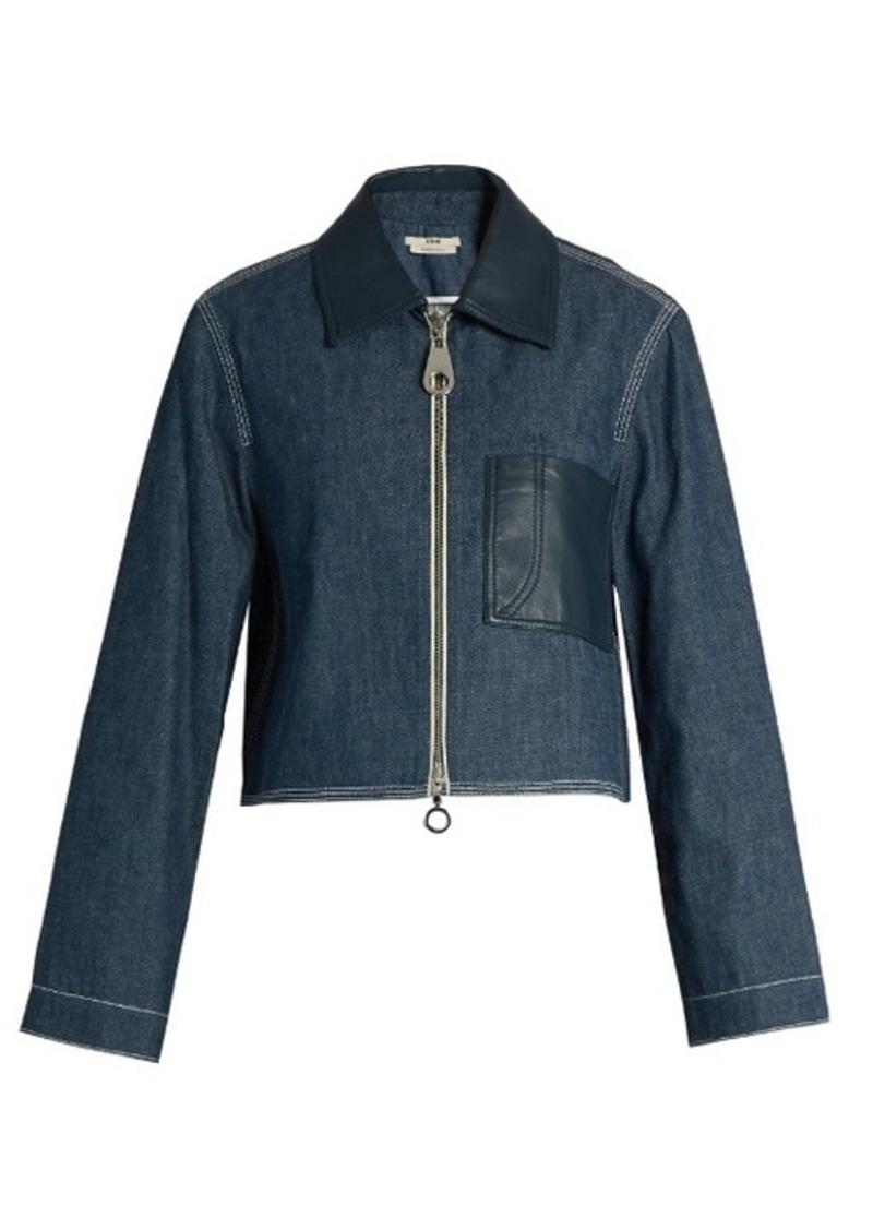 Edun Point-collar patch-pocket denim jacket