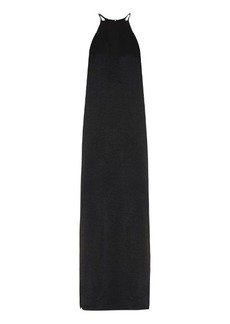 Edun T-back halterneck satin-crepe dress